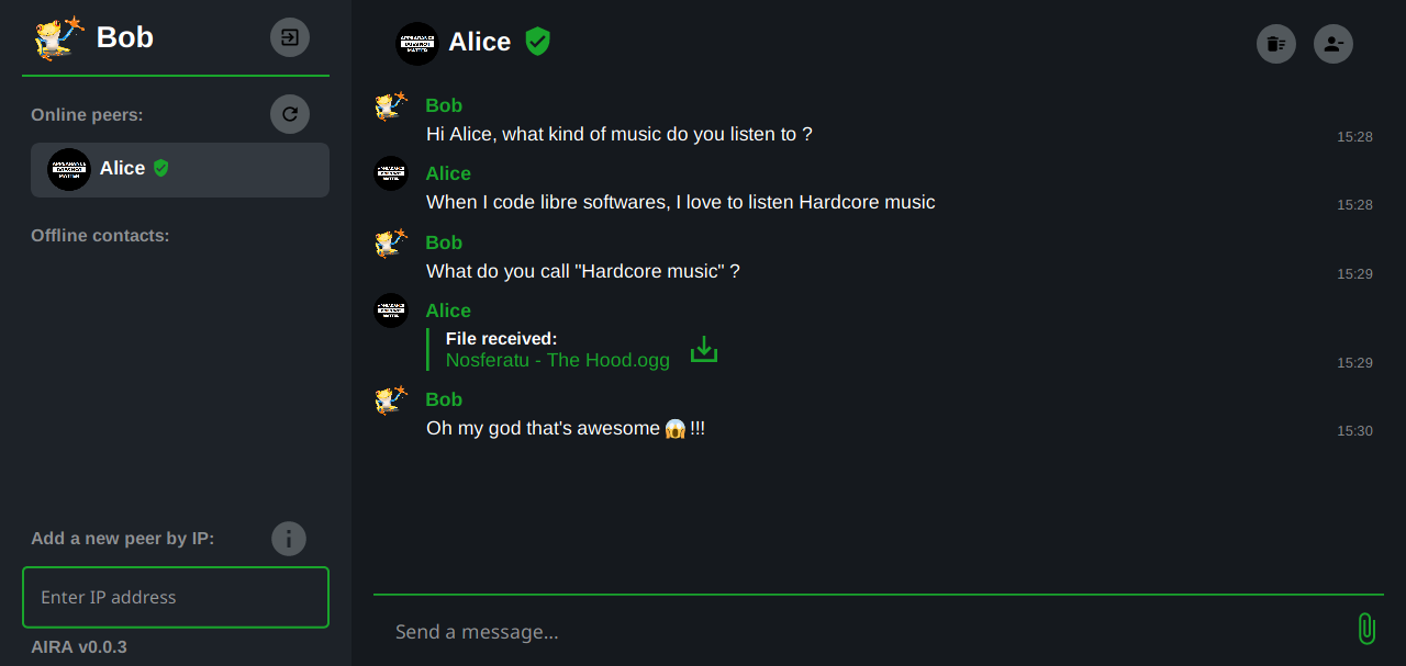 Screenshot of a conversation between Alice and Bob on AIRA